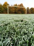 Frost on a Football Pitch. Focus on the foreground of early morning frost on the grass of a football or soccer pitch, with the goalposts and late autumn trees in Royalty Free Stock Photo
