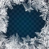 Frost-Glasmuster Winterrahmen auf transparentem Hintergrund Quadratischer Hintergrund mit Platz für Ihren Inhalt Gefrorene Fenste stock abbildung