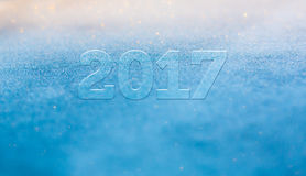 Frost glowing shiny blurred new year 2017 greetings winter heade Royalty Free Stock Images