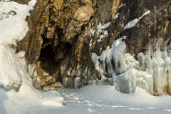 Frost before grotto in the rock. Beautiful winter landscape in the Lake Baikal Stock Photography
