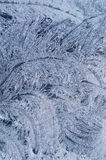 Frost ice flowers. Frozen ice flowers on glass; beautiful patterns show up when zooming in Stock Photos