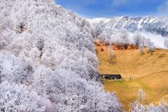 Frost land in the Carpathian Mountain and Transylvania village Stock Photo