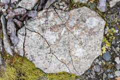 Frost leaves Destructive Patterns in a Stone. Iceland Stock Photography