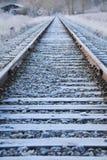 Frost na trilha do trem imagem de stock