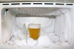 Frost och exponeringsglas av öl i kylen Royaltyfri Foto