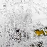 Frost på fönstret fotografering för bildbyråer