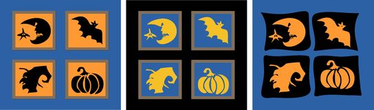 Haloween stamps. Stylized symbols of Haloween: the witch, the bat, the pumpkin, the moon Royalty Free Stock Images