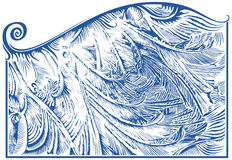 Frost pattern on window. Glass, hand drawing, vector illustration Royalty Free Stock Photos