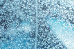Frost pattern. On a window. Background photo Royalty Free Stock Photo