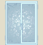 Frost pattern on window . tree branches Royalty Free Stock Image