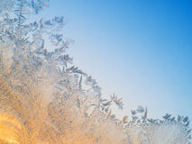 Frost patterns on glass Stock Photos