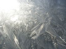 Frost patterns on a glass in winter stock photo