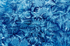 Frost patterns on house glass macro Royalty Free Stock Photos