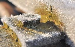 Frost on piece of metal Royalty Free Stock Photos