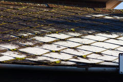 Frost on roof tiles. On cold autumnal day Royalty Free Stock Photography