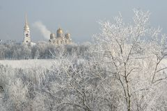 Frost russian winter. A landscape of Vladimir town in winter stock photography