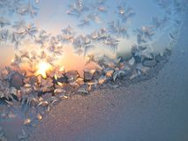 Frost and sun background. Frost and sun on winter window Royalty Free Stock Images