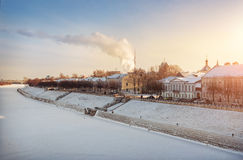 Frost and sun. Frosty and sunny day on the frozen river in the city Royalty Free Stock Photo