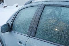 Frost sur la fenêtre de voiture Photos libres de droits