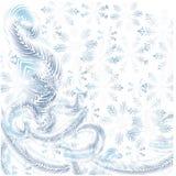 Frost sur la fenêtre, flocons de neige bleus sur le fond blanc illustration de vecteur