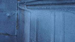 Frost sur la porte Photo stock