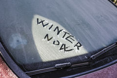 Frost and text on windshield Stock Image