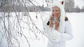 Frost, tree and pretty funny lady. stock footage