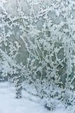 Frost und Schnee; Muster auf der Fensterscheibe. stockfotografie
