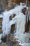 Frost waterfall on rock Stock Photography