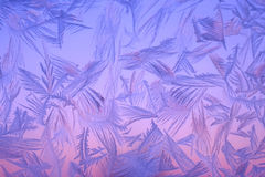 Frost on window. Beautiful colour frost on window in north sweden Stock Photo