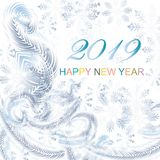 Frost on the window, blue snowflakes, 2019 Happy New Year. On white background, stock vector illustration royalty free illustration