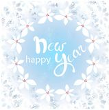 Frost on the window, blue snowflakes, holly Happy New Year on blue background Royalty Free Stock Photo