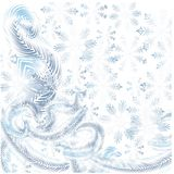 Frost on the window, blue snowflakes on white background Stock Photos