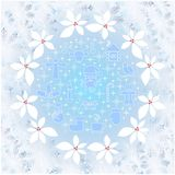 Frost on the window frame for winter design on blue and white background, holle, Stock Image