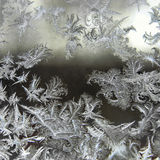 Frost on window in winter. Magnificent effect of water that turns into fern leaves frozen by the cold. This would make a nice Christmas card or for the holiday Stock Photo