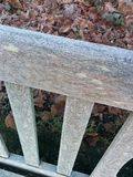 Frost wooden bench cold winter Royalty Free Stock Photo