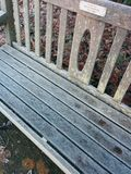 Frost wooden bench cold winter Stock Photo