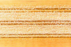 Frost on a wooden board, bacground. Rime and Frost on a wooden board, bacground Royalty Free Stock Images