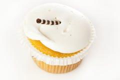 Frostad muffin för vanilj Fotografering för Bildbyråer