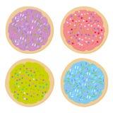 Frostade sockerkakor, ställde in bakade kakor för italienare nytt med rosa violett glasyr på kaka för blå gräsplan och färgrika s stock illustrationer