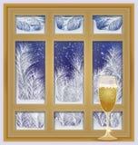 Frostat fönster för ferie med champagne stock illustrationer