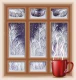 Frostat fönster för ferie med kaffe royaltyfri illustrationer