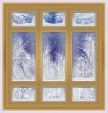 Frostat fönster för ferie, vektor vektor illustrationer
