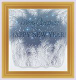 Frostat fönster för glad jul och för lyckligt nytt år vektor illustrationer