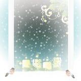 Frostat fönster med julgarneringen stock illustrationer
