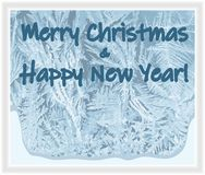 Frostat fönsterkort för glad jul & för lyckligt nytt år stock illustrationer