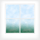 Frostat glass fönster stock illustrationer