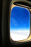 Frosted airplane window Royalty Free Stock Images