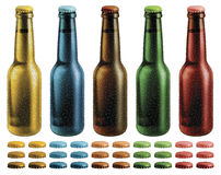 Frosted Beer Bottles Stock Photos