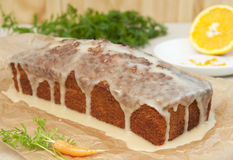 Frosted carrot cake Royalty Free Stock Images